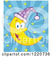 Clipart Of A Happy Crescent Moon Mascot Wearing A Night Cap Over Rays And Stars Royalty Free Vector Illustration