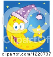 Clipart Of A Star By A Crescent Moon Mascot Wearing A Night Cap Royalty Free Vector Illustration