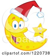 Clipart Of A Star By A Crescent Moon Mascot Wearing A Christmas Santa Hat Royalty Free Vector Illustration by Hit Toon