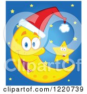 Clipart Of A Star By A Crescent Moon Mascot Wearing A Christmas Santa Hat Over Blue Royalty Free Vector Illustration by Hit Toon
