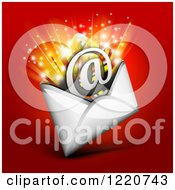 Clipart Of An Arobase At Email Symbol Bursting Out Of An Envelope Over Red Royalty Free Vector Illustration by Oligo