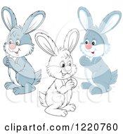 Clipart Of Outlined And Gray And White Bunny Rabbits Facing Left Royalty Free Vector Illustration
