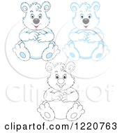 Clipart Of Outlined And Colored Sitting Chubby Polar Bears Royalty Free Vector Illustration by Alex Bannykh
