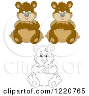 Clipart Of Outlined And Colored Sitting Chubby Bears Royalty Free Vector Illustration