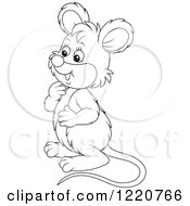 Clipart Of An Outlined Cute Mouse Facing Left Royalty Free Vector Illustration