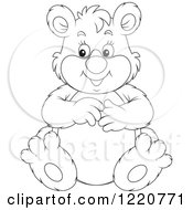 Clipart Of An Outlined Sitting Chubby Bear Royalty Free Vector Illustration