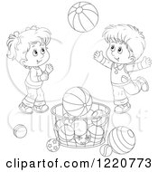 Clipart Of An Outlined Boy And Girl Playing With Balls Royalty Free Vector Illustration
