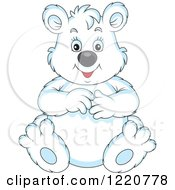 Clipart Of A Sitting Chubby Polar Bear Royalty Free Vector Illustration by Alex Bannykh