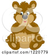 Clipart Of A Sitting Chubby Brown Bear Cub Royalty Free Vector Illustration