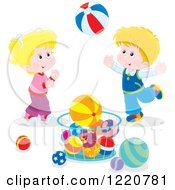 Clipart Of A Boy And Girl Playing With Balls Royalty Free Vector Illustration