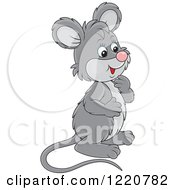 Clipart Of A Cute Gray Mouse Facing Right Royalty Free Vector Illustration by Alex Bannykh