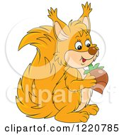 Clipart Of A Cute Orange Squirrel Holding An Acorn Royalty Free Vector Illustration