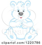 Clipart Of A Sitting Chubby Polar Bear Cub Royalty Free Vector Illustration by Alex Bannykh
