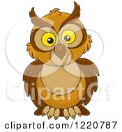 Clipart Of A Brown Owl With Big Yellow Eyes Royalty Free Vector Illustration by Alex Bannykh