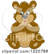 Clipart Of A Sitting Chubby Brown Bear Royalty Free Vector Illustration by Alex Bannykh