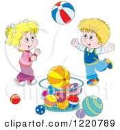 Clipart Of A Twin Boy And Girl Playing With Balls Royalty Free Vector Illustration