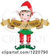 Happy Christmas Elf Holding A Merry Christmas Banner