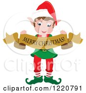 Clipart Of A Happy Christmas Elf With A Merry Christmas Banner Royalty Free Vector Illustration by Pams Clipart