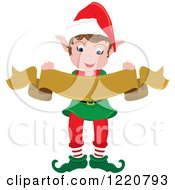 Clipart Of A Happy Christmas Elf Holding A Scroll Banner Royalty Free Vector Illustration by Pams Clipart