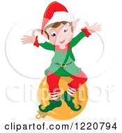 Clipart Of A Happy Christmas Elf Sitting On A Bauble Royalty Free Vector Illustration by Pams Clipart