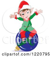 Clipart Of A Happy Christmas Elf Sitting On A Blue Bauble Royalty Free Vector Illustration by Pams Clipart