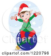 Clipart Of A Happy Christmas Elf Sitting On A Bauble Over Snowflakes Royalty Free Vector Illustration by Pams Clipart