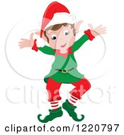 Clipart Of A Welcoming Christmas Elf With Open Arms Royalty Free Vector Illustration