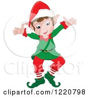 Clipart Of A Happy Christmas Elf With Open Arms Royalty Free Vector Illustration by Pams Clipart