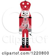 Clipart Of A Red Wooden Christmas Nutcracker Royalty Free Vector Illustration by Pams Clipart