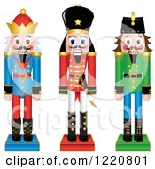 Clipart Of Three Wooden Christmas Nutcrackers Royalty Free Vector Illustration by Pams Clipart