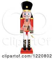 Clipart Of A Wooden Christmas Nutcracker Royalty Free Vector Illustration by Pams Clipart