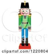 Clipart Of A Brunette Wooden Christmas Nutcracker Royalty Free Vector Illustration by Pams Clipart