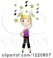 Blond Girl Dancing Under Green Stars And Music Notes