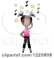 Black Girl Dancing Under Yellow Stars And Music Notes