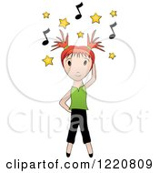 Red Haired Girl Dancing Under Yellow Stars And Music Notes
