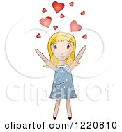 Clipart Of A Cute Blond Girl Tossing Hearts Into The Air Royalty Free Vector Illustration by Pams Clipart