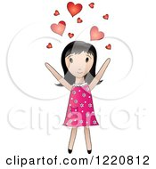 Cute Black Haired Girl Tossing Hearts Into The Air