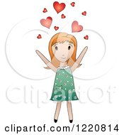 Cute Red Haired Girl Tossing Hearts Into The Air