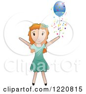 Clipart Of A Red Haired Girl With A Blue Party Balloon And Confetti Royalty Free Vector Illustration by Pams Clipart