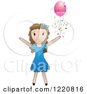 Clipart Of A Brunette Girl With A Pink Party Balloon And Confetti Royalty Free Vector Illustration by Pams Clipart