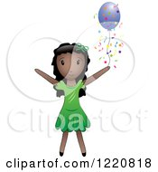 Clipart Of A Black Girl With A Purple Party Balloon And Confetti Royalty Free Vector Illustration