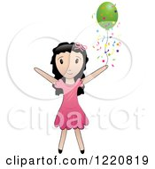 Clipart Of A Black Haired Girl With A Green Party Balloon And Confetti Royalty Free Vector Illustration by Pams Clipart