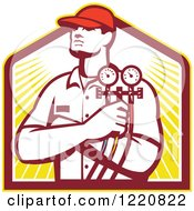 Clipart Of A Retro Refrigeration Mechanic Worker Holding A Pressure Gauge Over A Shield Of Sunshine Royalty Free Vector Illustration