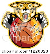 Clipart Of A Furious Tiger Clawing A Basketball With A Yellow Outline Royalty Free Vector Illustration by patrimonio
