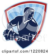 Clipart Of A Retro Rugby Player With A Ball In A Blue Sunshine Shield Royalty Free Vector Illustration