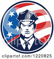 Clipart Of A Retro Police Man In An American Flag Circle Royalty Free Vector Illustration by patrimonio