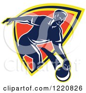 Clipart Of A Retro Man Bowling And Emerging From A Shield Royalty Free Vector Illustration