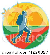 Clipart Of A Male Hiker With Tropical Palm Trees And Mountains Royalty Free Vector Illustration by patrimonio