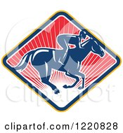 Clipart Of A Retro Jockey Racing A Horse On A Diamond Of Red Sunshine Royalty Free Vector Illustration