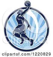 Clipart Of A Retro Basketball Player Jumping For A Slam Dunk Over A Circle Of Blue Sunshine Royalty Free Vector Illustration